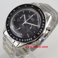 Solid 40mm Corgeut Quartz watch men waterproof stainless steel bracelet Full Chronograph 24 hour Black dial bezel stop wrist 176