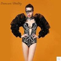 Боди со стразами ночной бар для певцов в ночном клубе ds сталь Трубки Танцоров dj Болеро со стразами купальник пикантные сценические костюмы