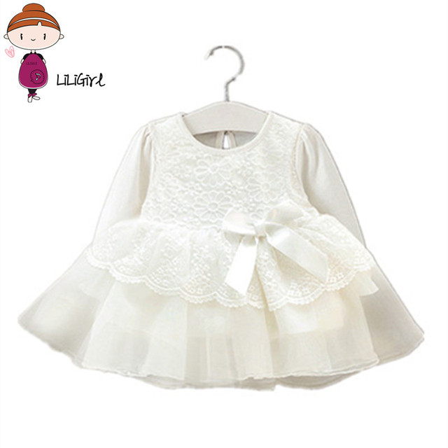Baby Dress Girl Clothes Lace Long Sleeve Wedding Christening Gowns