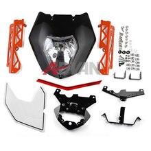 Luces de Faro negro Máscara Asamblea Cubierta Calcomanías Para KTM 125 200 390 Duke