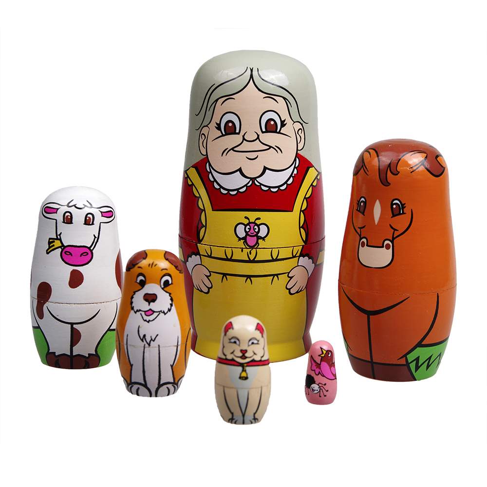 popular russian traditions buy cheap russian traditions lots from 6 layers russian traditional wooden matryoshka animal cartoon puppet doll toys for kids