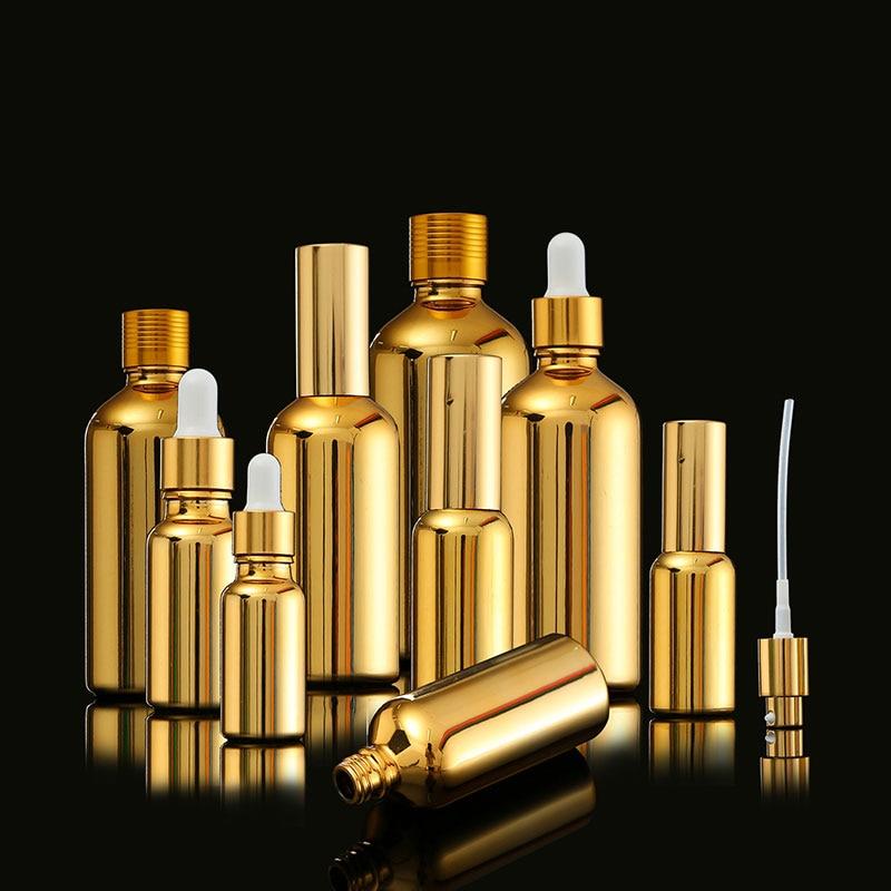 الذهب تجميل فارغ وضع رذاذ عبوة عطر من الزجاج ، مضخة محلول النفط ، قطارة ، المخفض الذهبي وعاء من الزجاج