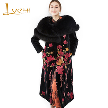 LVCHI Winter 2017 Imported Swan Velvet Mink Women's Natural Fur Slim Coat Print Flower Coats O-Neck Long Sleeve Slim Mink Coats