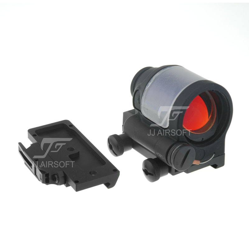 JJ Airsoft SRS 1x38 Red Dot (Solar cell assisted) & QD / Quick Release Mount AC32002 (Black/Tan) jj airsoft t1 t 1 red dot 45 degree offset mount qd mount and low mount tan