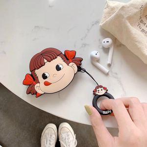 Image 5 - 3D Leuke Cartoon Fujiya Meisje Jongen Melkachtige Poko Siliconen Oortelefoon Cases Voor Apple Airpods 1 2 Shockproof Bescherming Cover Accessoires