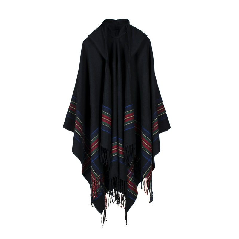 Thickening Striped Warm Oversize Womens Cashmere Imitation Wool Scarf  Hooded Poncho Cape Poncho Blanket Cloak Wrap Shawl Coat-in Scarves from  Women's ...