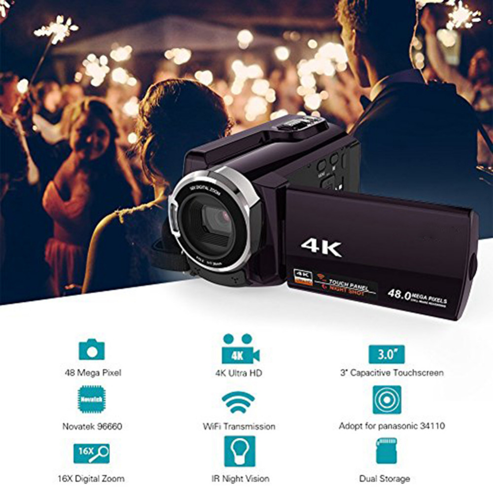 HTB12GWZcAfb uJkHFNRq6A3vpXa9 New 4K Camcorder Video Camera Camcorders Ultra HD Digital Cameras and Video Recorder with Wifi/Infrared Touchscreen Angle Lens
