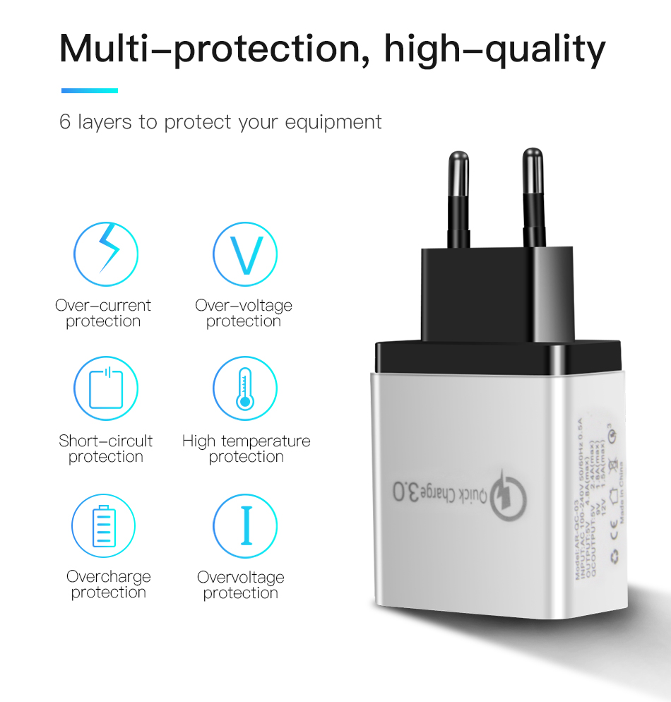 !ACCEZZ 18W USB Charger Quick Charge 3.0 For iphone 8 X Fast Charging For Samsung S8 S9 Huawei P30 Xiaomi EU Plug Phone Adapter (4)