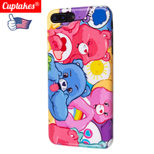 Cute Cartoon color Bear Friend happy family rainbow Coque Luxury Glossy Soft Silicone Case for iPhone 7 8 Plus XR X XS Max 6 6S