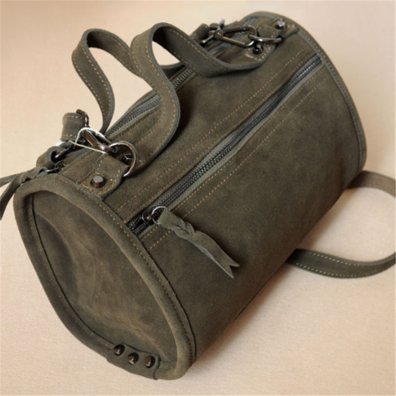 B0118 LilyHood Female Suede Genuine Leather Rivet Shoulder Bag For Women Leisure Small Duffle Handbag Nubuck Bowler Crossbody crossbody bowler bag