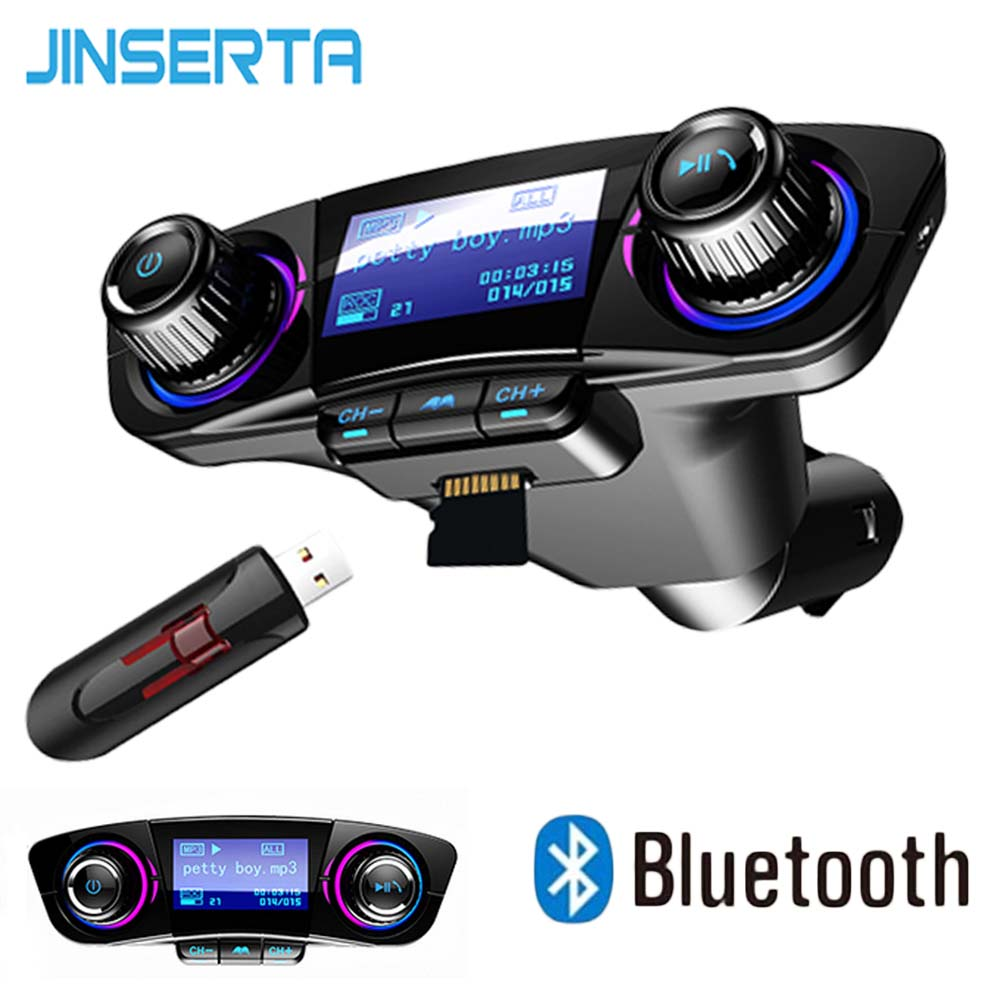 JINSERTA Mini Bluetooth MP3 Player With FM Transmitter LED Screen Handsfree TF Card USB Play Car MP3 Player