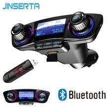 JINSERTA Mini Bluetooth MP3 Player with FM Transmitter LED Screen Handsfree TF Card USB Play Car MP3 Player