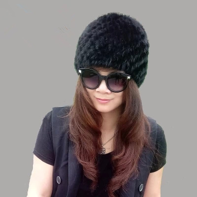 Good quality! 2014 Autumn and winter women's 100% genuine mink fur leather knitted hat thicken warm cap hat multicolor