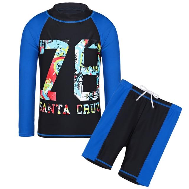 11c82e1b8cac2 BAOHULU Black Long Sleeves Lycra Boy Rash Guards Letter Swimsuit UPF50+ UV  Swim Clothes Boys Bathing Suit for Kids 4-14 Years