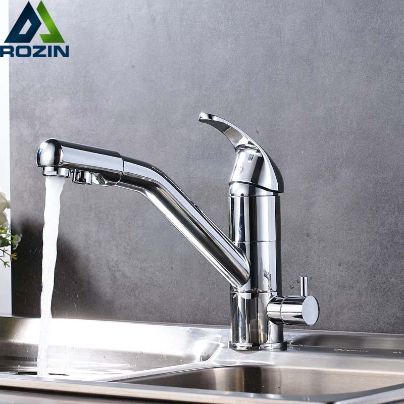 Chrome Kitchen Faucet Deck Mount 360 Degree Rotation with Water Purification Mixer Tap Bathroom Kitchen Drinking Water Taps