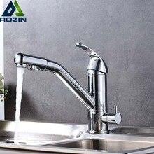 Хром смеситель для кухни Палуба Гора 360 градусов вращения с очистки воды смесителя ванная кухня питьевой воды краны