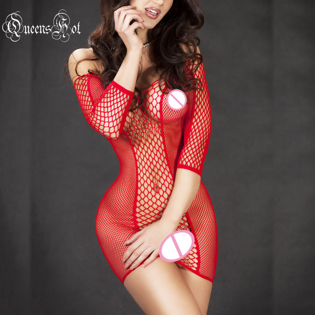 Fishnet Sleeved Erotic Hot Sexy Catsuit Body Stocking