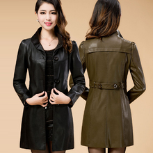 Plus Size M-6XL Mother Middle-Aged Leather Jacket Long 2016 New Autumn And Spring Casaco De Couro Feminino 6 Colors
