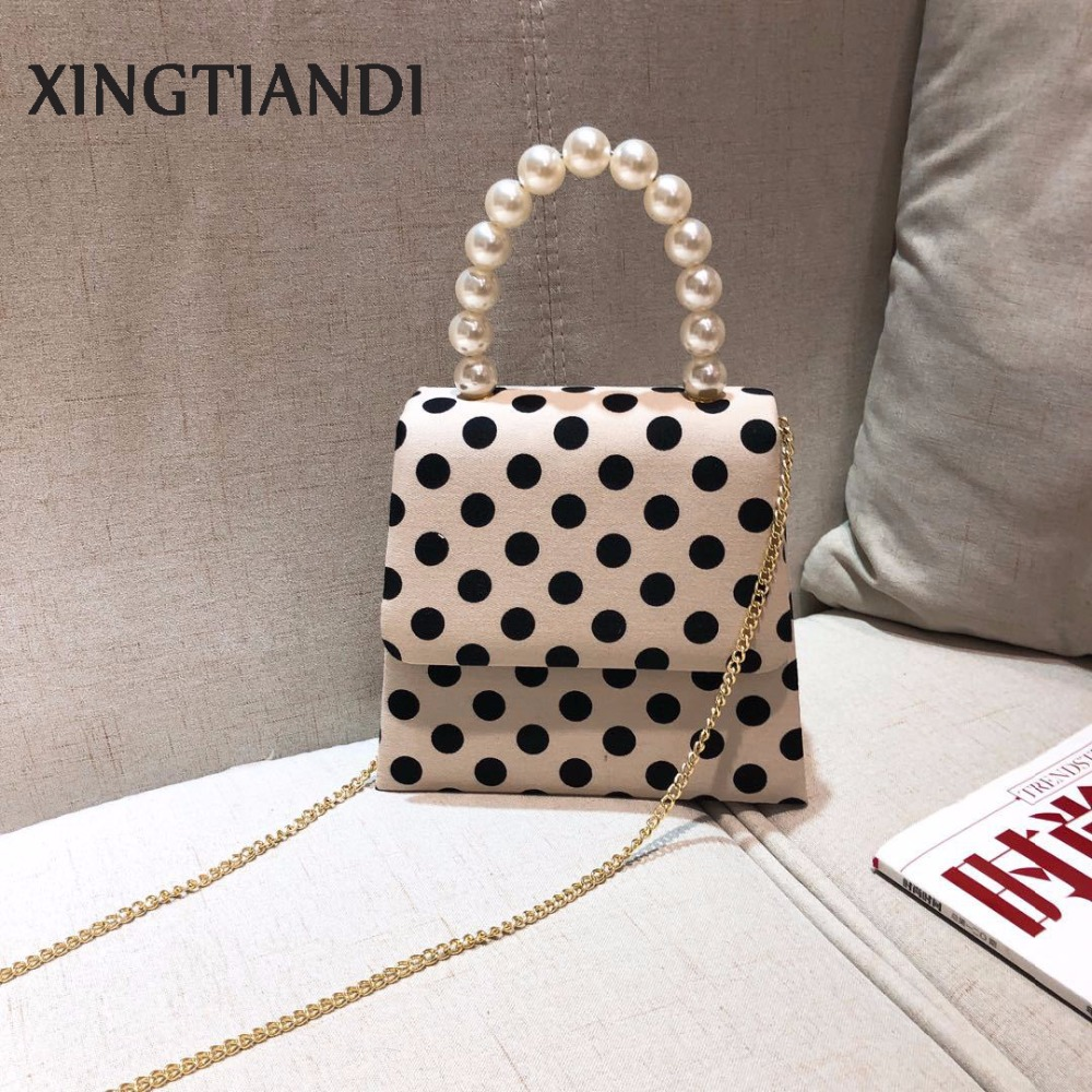 New arrival women Polka dot bag pearl handle handbag vintage female evening bag shoulder crossbody bags new arrival crocodilian veins embellished handbag slanting bag for female