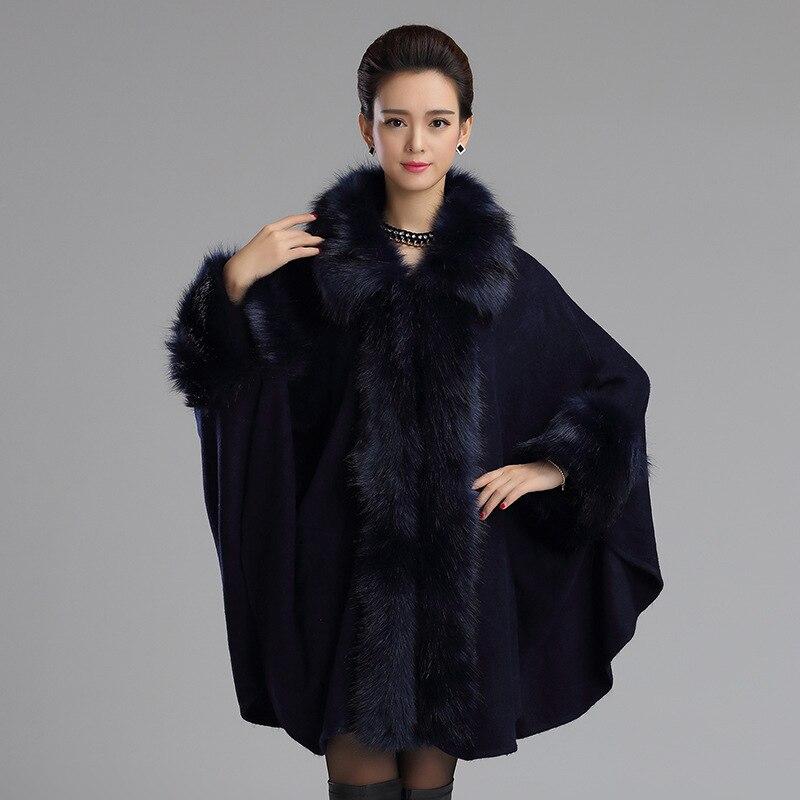 2017 New Elegant Large Fur Coat Faux Fox fur Cloak Cape Relaxed ...