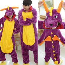 Autumn men women Flannel pajamas cosplay One-piece animal pajamas Cartoon image Jumpsuits sleepwear winter velvet thick Rompers(China)