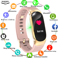 BANGWEI 2019 Smart Sport Watch Women IP67 Waterproof Watch Heart Rate Sleep Monitor Information Call Reminder smartwatch + Box