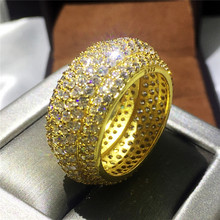 Handmade Engagement Wedding Band Rings for women men Full 320pcs AAAAA zircon cz Yellow Gold Filled Female Finger ring Jewelry(China)