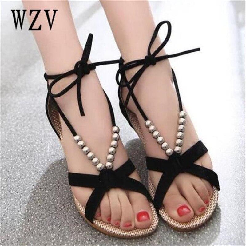 Women Shoes Sandals Comfort Sandals Summer Flip Flops 2018 Fashion beads Flat Sandals Gladiator Sandalias Mujer B64 bisley bcf 64 b64