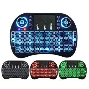 Image 1 - I8 Mini 2,4G Wireless Tastatur Touchpad Farbe Hintergrundbeleuchtung Air Mouse Russische Spanisch Arabisch Für Android TV Box Xbox Smart TV PC HTPC