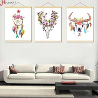 Framed Watercolor Deer Head Skull Poster Print Dream Catcher Feather Wall Art Picture Nordic Home Deco Canvas Painting