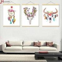 HJIAART Đóng Khung Màu Nước Hươu Đầu Sọ Poster In Giấc Mơ Dream Catcher Feather Wall Art Ảnh Bắc Âu Nhà Deco Canvas Vẽ Tranh