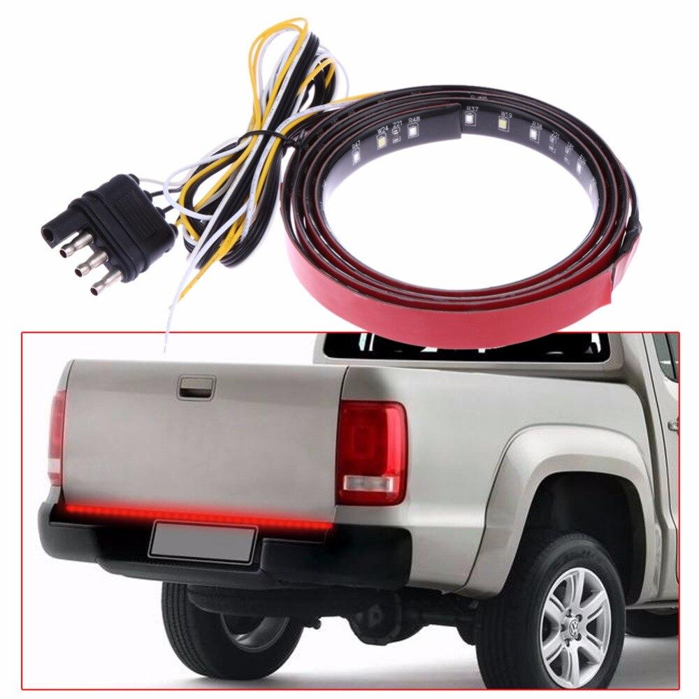 22W 49 Flexible LED Car Truck Tailgate Light Bar Red & White 12V 72LED Automobiles Running/Brake/Reverse/Signal/Rear Strip Lamp