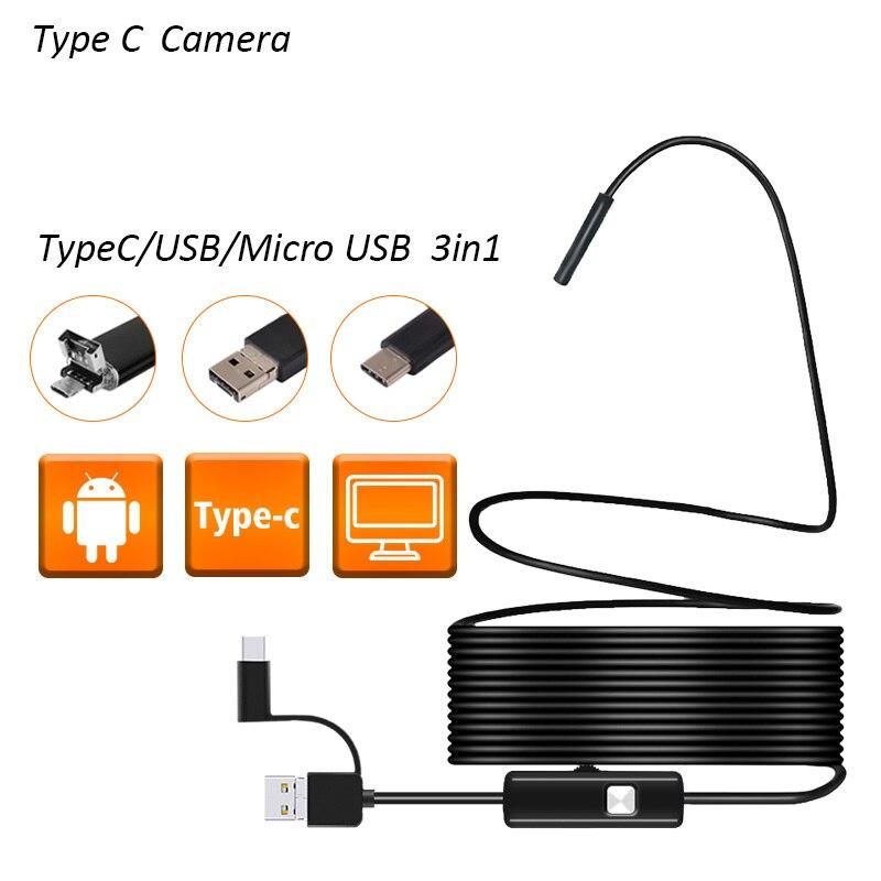 Android эндоскоп камера 5,5 мм объектив 1 м 2 м провод usb-шнур инспекционный эндоскоп OTG usb-бороскоп камера ремонт автомобиля