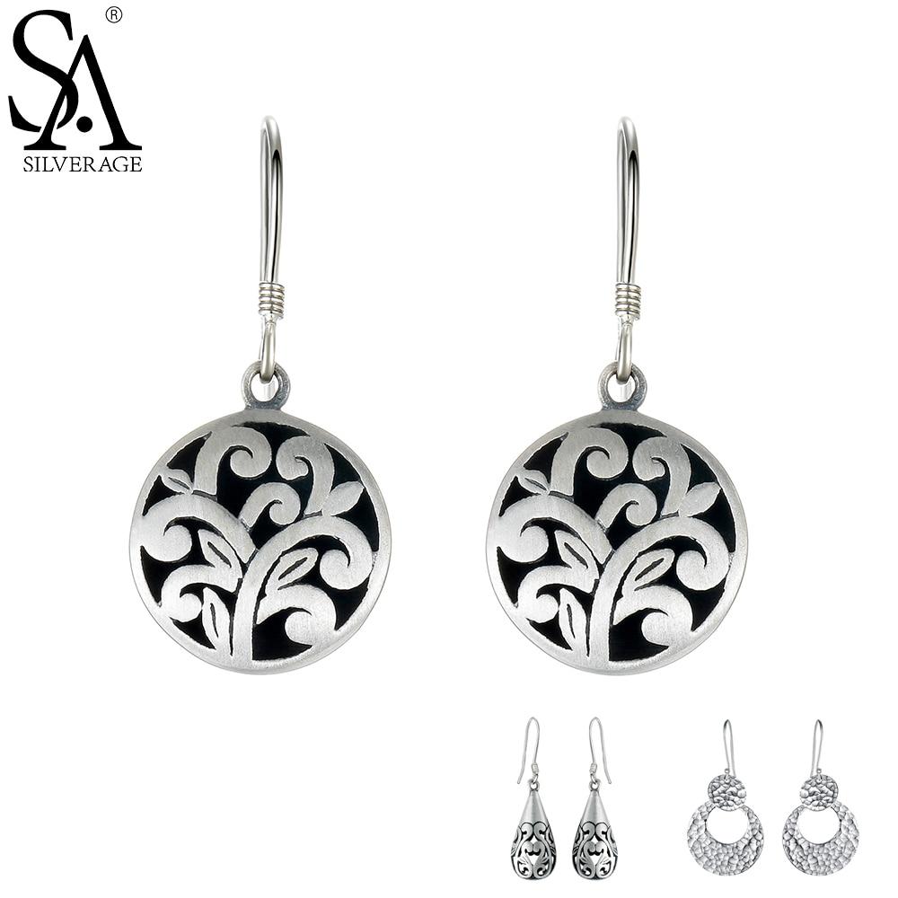 SA SILVERAGE 925 Sterling Silver Drop Earrings Vintage Earring For Women Ethnic Jewelry Long Hanging Party Earrings Sets Female