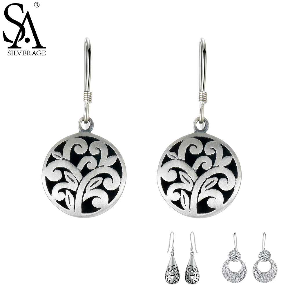 SA SILVERAGE 925 Sterling Silver Drop Earrings Vintage Earrings For Women Ethnic Jewelry Long Hanging Party