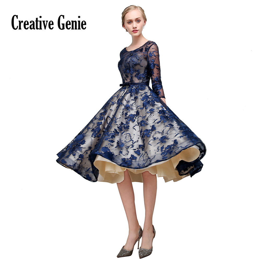 Bleu marine robes de soirée perlées dentelle Appliques femme robe élégante soirée manches courtes trois-quarts découpe robe de soirée 2018