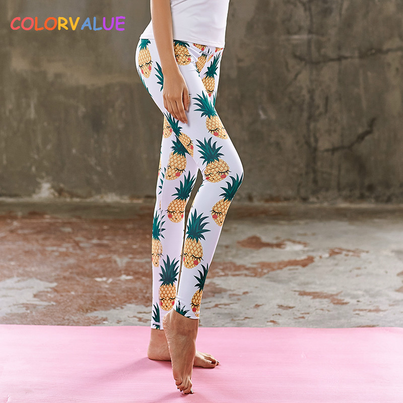Colorvalue 3D Pineapple Printed Yoga Pants Fitness Leggings Women Child Breathable Sport Workout Leggings Cute Gym Activewear