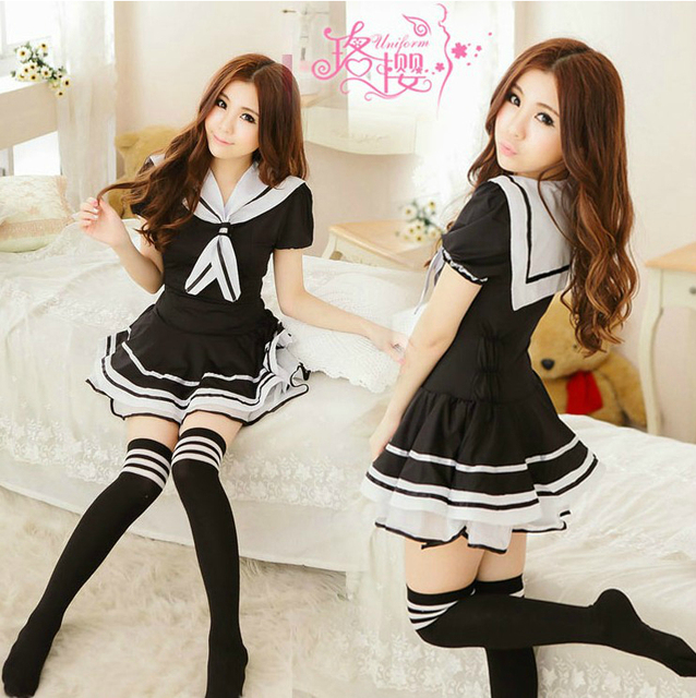 School Girl Wear Teen Sailor Suit Set Short Skirt Womens Sexy Costumes T Back G String Thong Exotic Apparel Adult Game Play