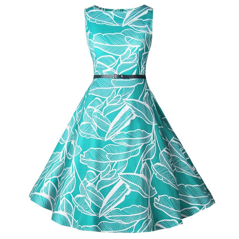Для женщин Vintagehigh качество материалов без рукавов с круглым вырезом с цветочным принтом Вечеринка Прямая доставка 2018 Новая мода