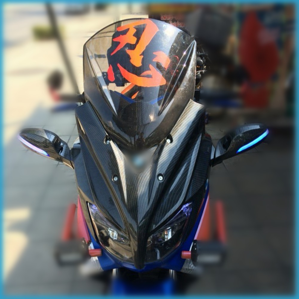 New Modified Motorcycle Windshield scooter Steel solidification WindScreen Carbon fiber Wind Deflectors for Yamaha NMAX155 NMAX motorcycle street bikes wind deflectors windshield windscreen for 2006 2014 yamaha fz1 fz1n fz6 s2 fz8 fz 6 8 dark smoke 08 12