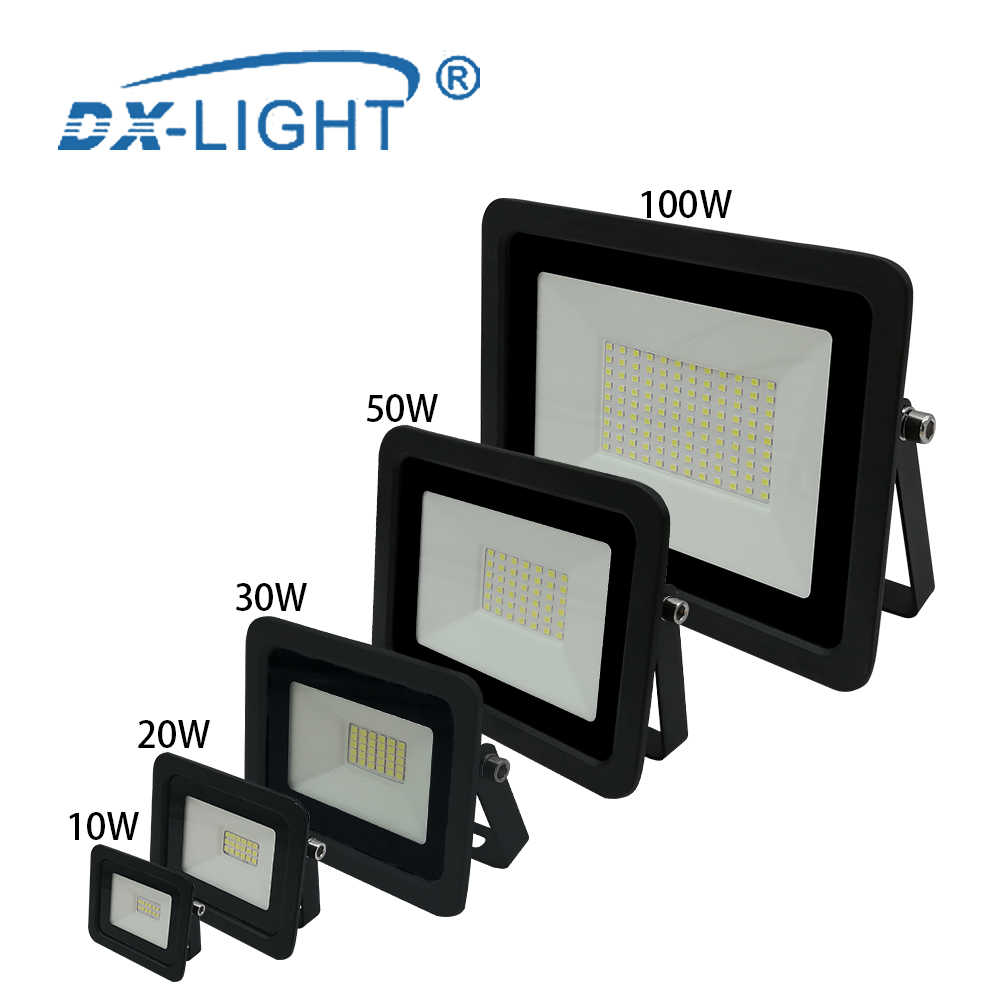 Ultra-thin 10W 20W 30W 50W 100W LED Flood Light 110V/220V Floodlight Spotlight IP68 Waterproof Outdoor Garden Lamp