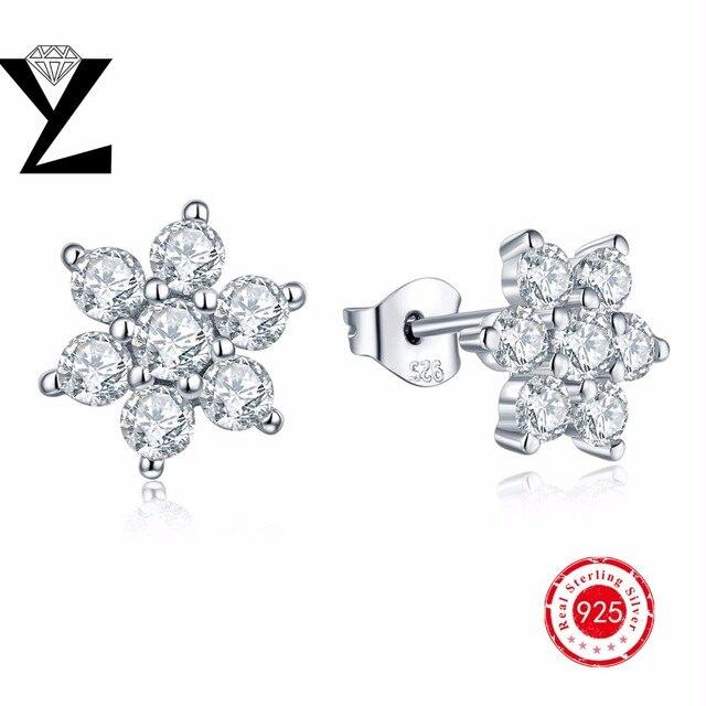 Brincos bijoux mulheres brincos flor de cristal do parafuso prisioneiro 925 brincos de prata para as mulheres AAA cubic zircon melhor presente
