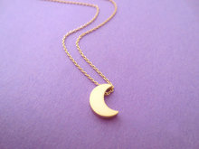cute little half moon necklace simple crescent Eclipse small silvery star sky universe planet jewelry