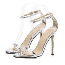 cf8dd25d42aada Peep Toe Sandals 2019 Summer Clear PVC Women Sandals sexy 10 cm High Heels  Wedding Shoes