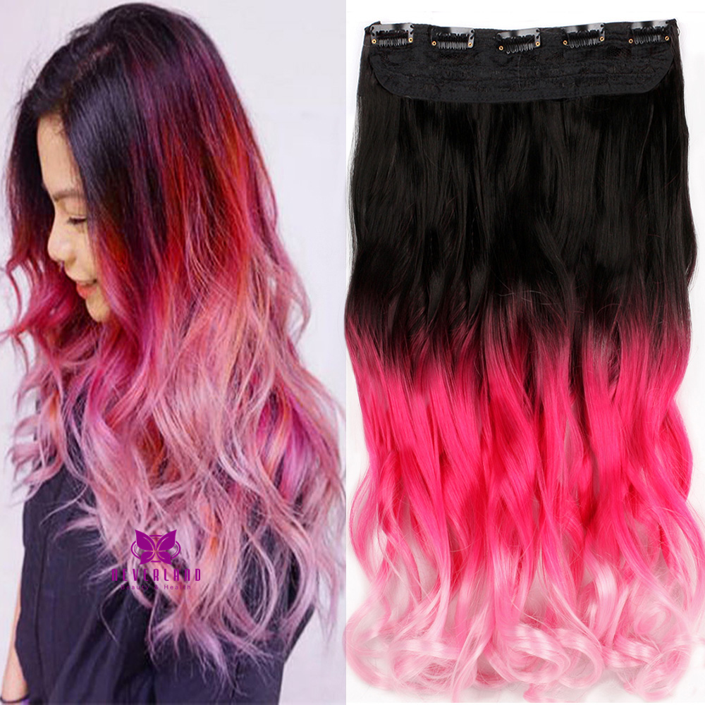 Neverland ombre synthetic wavy curly hair extensions 22 3 colors neverland ombre synthetic wavy curly hair extensions 22 3 colors clip in on 5clips dip dye hairpiece hair piece red pink a3 on aliexpress alibaba pmusecretfo Images