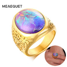 Handmade Men's Ring Multi Fire Ethiopian Opal Ring Natural Ethiopian Opal Ring In Gold Color October Birthstone(China)