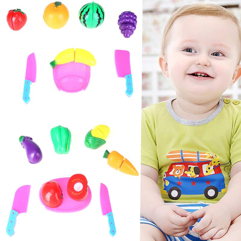 8pcs / Set Children Vegetable Fruit Kitchen Toys Kids Baby Pretend Playing Cutting Toy For Girls Educational Toy Play House Toy