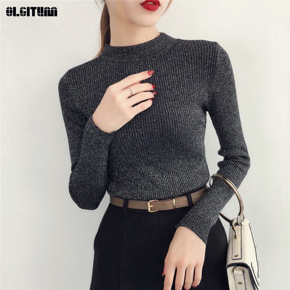 New 2019 Autumn And Winter Slim Half-neck Sweater Female Bright Silk Knitted Sweater Long Sleeve Bottoming Sweater Jumpers Women