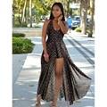 2017 new sexy side dividir backless fower impresso chiffom mulheres summer beach dress plus size boho vestidos