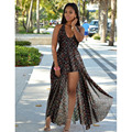2017 nueva sexy side dividir sin respaldo fower impreso chiffom mujeres beach summer dress plus size largo boho vestidos